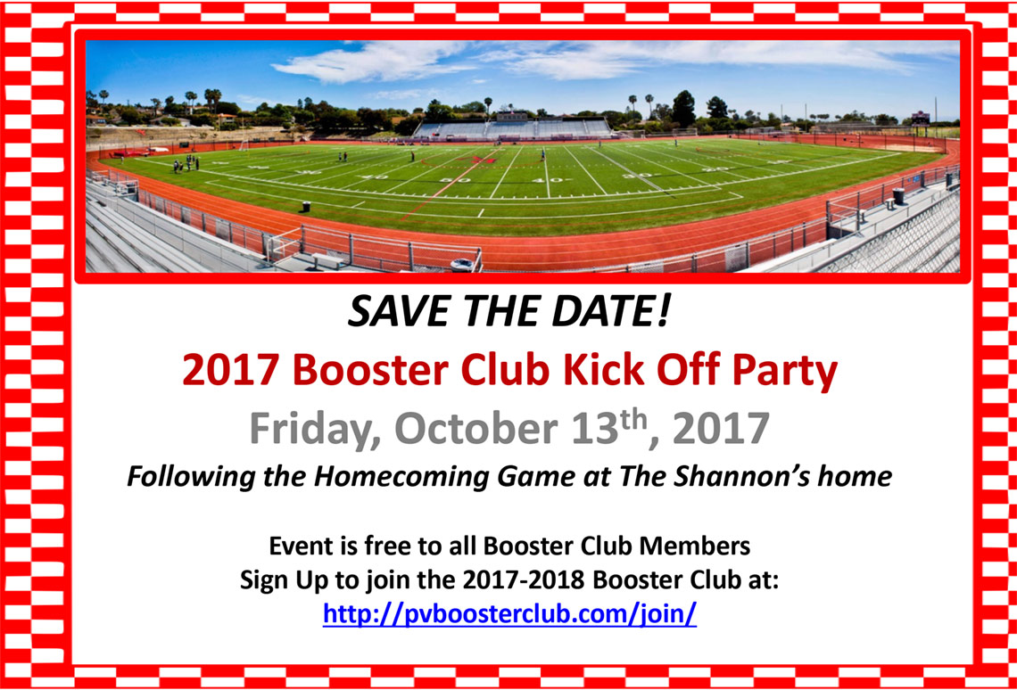 Save the Date for PV Booster Club Kick Off Party 2017